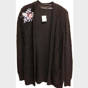Embroidered Black Cardigan Sweater Size XS